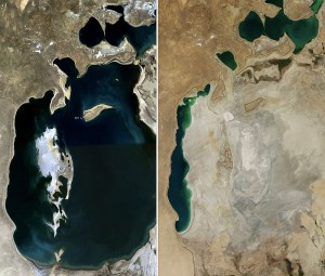 aral sea in 1989 and today