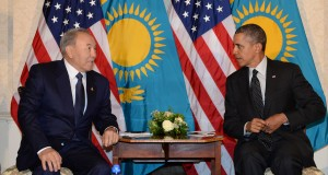 Nazarbayev and Obama at the Hague for edge