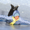 edge winter girl sliding on ice